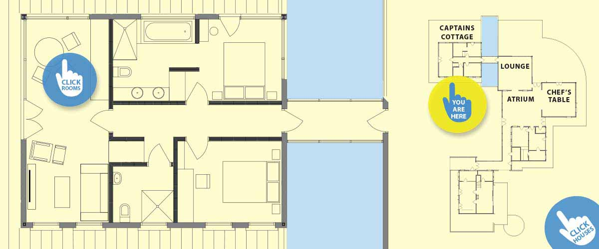 Small boutique hotel Bay Guesthouse room layout for Captains house, Pond, Lounge, Atrium and Chef's Table and the Cottage