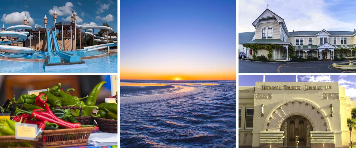 The sunrise at the beach is one of our favourites, family-friendly splash planet, Art Deco, Mission winery, and the urban farmer markets of Hawkes Bay New Zealand