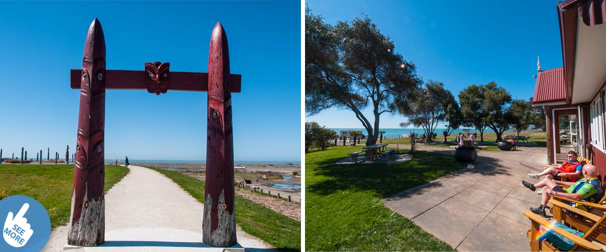 Celestial star compass entrance from coastal and estuary park close to Napier. Couple enjoying coastal getaway sitting on deck chairs