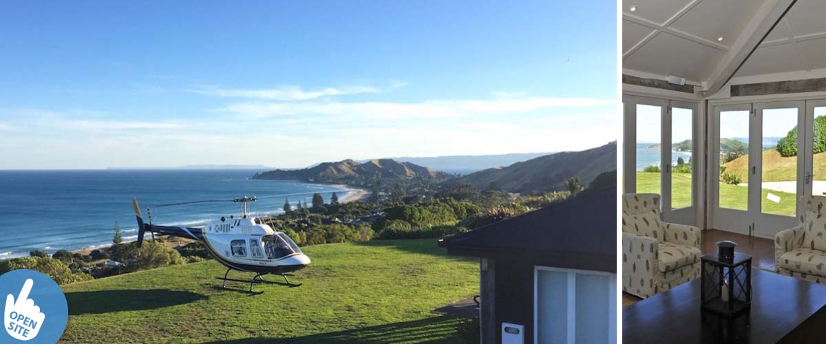 Helicopter landing in Wainui at the east coast by the blackhouse accommodation in the Gisborne region close to Hawkes Bay