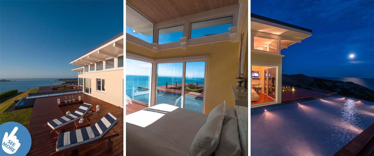 Luxury accommodation by the Pacific ocean in New Zealand, stunning views overlooking the Bay. Romantic bedroom in full moonlight and glittering sea