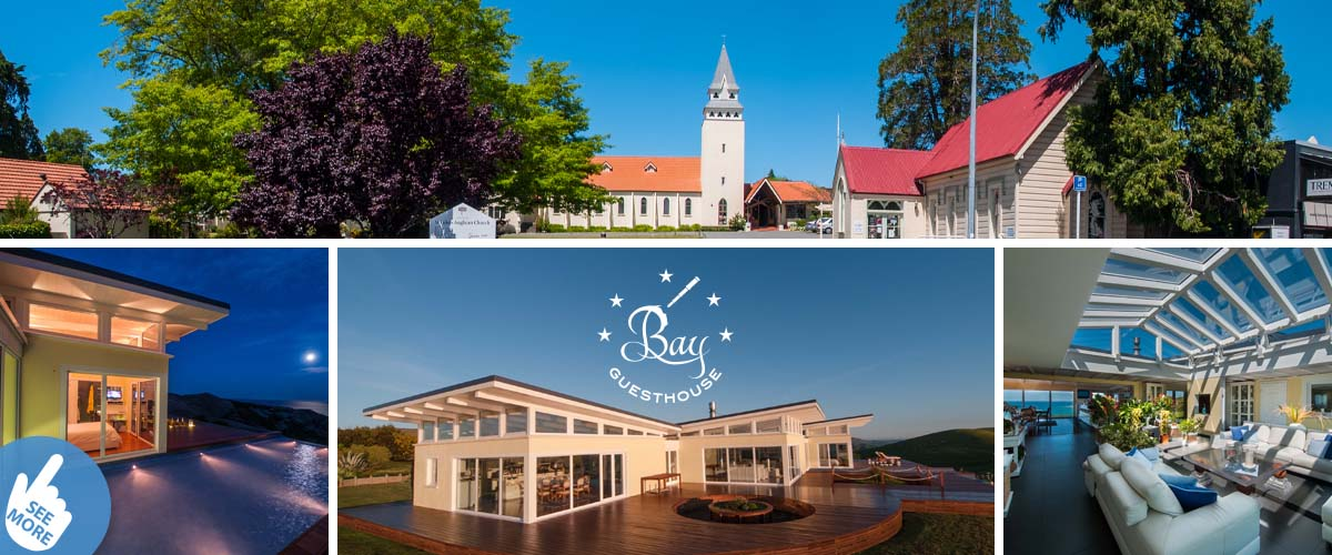 Havelock North village centre with Church and beautiful park. Boutique 5star hotel nearby with amazing sea view. Romantic full moonlight right outside the bedroom.