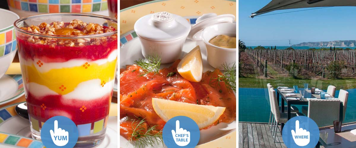 Healthy breakfast in boutique lodge near Havelock North with yogurt parfait, gravlax salmon at the Chef's table or fine dining in a winery restaurant