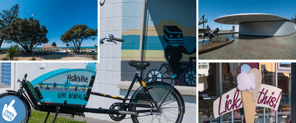 Discover Napier along the Marine Parade, new recreation area, funny bike displaying bike rentals, national aquarium building, ice cream shop