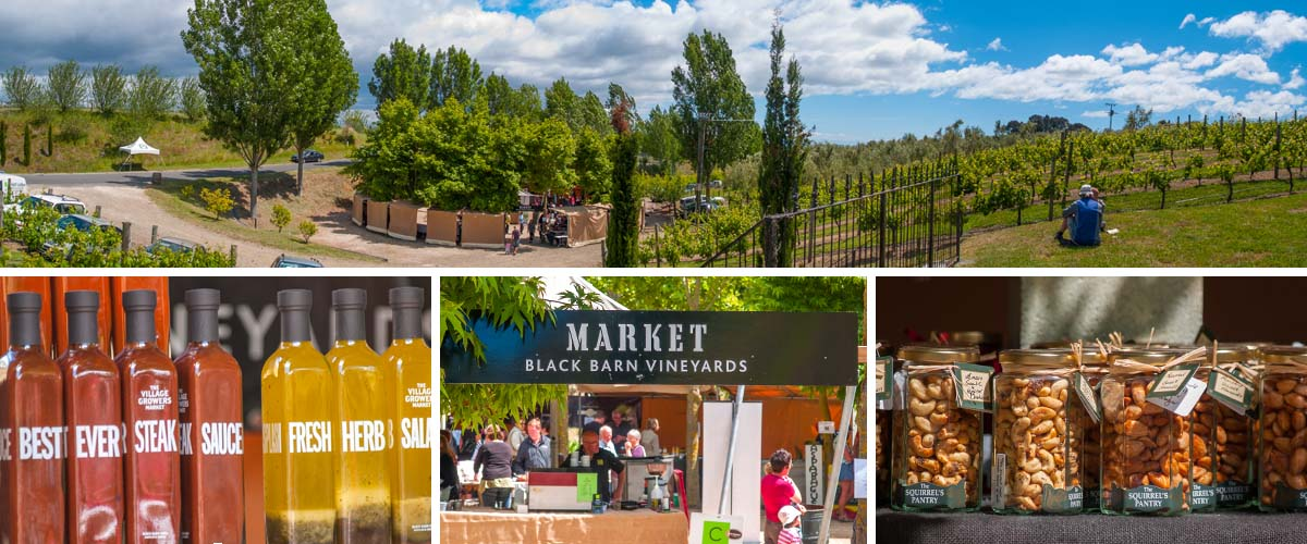 Black Barn Vineyards Market, a highlight in Summer, nice setting in the vines surrounded with shading trees. Local growers, backers and producers