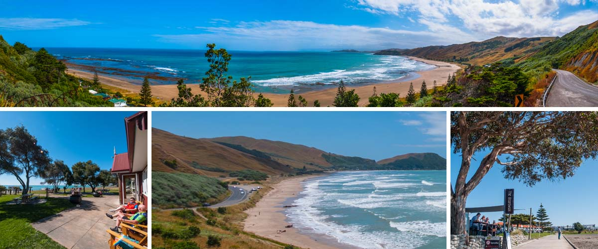 Hawkes Bay east coast drives along beautiful sandy beaches. Take a break at nice places like the boardwalk in Napier or the Hygge at Clifton Bay
