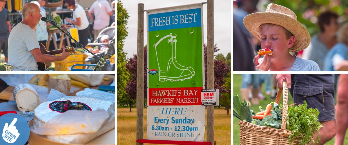 Farmers Market in Hastings New Zealand, every Sunday, with live music, artisanal food, fresh growers vegetable and sweet delicatessen