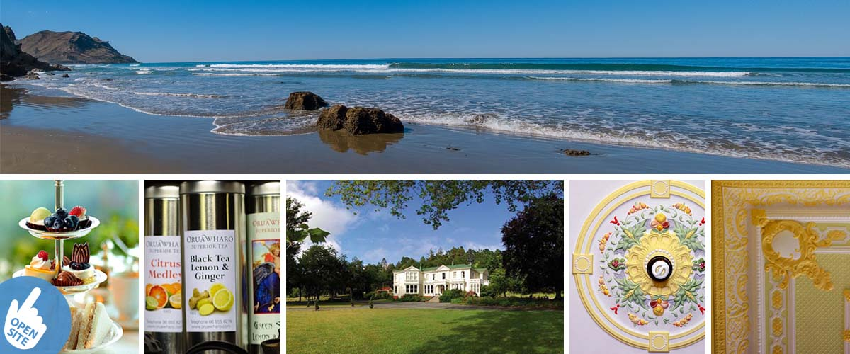 Explore the hidden gem and treasures of Hawkes Bay, Kairakau Beach and the beautiful historical Oruawharo homestead. Weddings and High Tea are their specialities