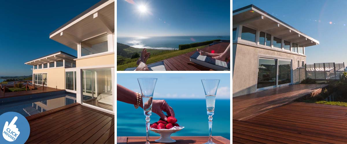 Luxury romantic getaway in Hawkes Bay, by the coast with breathtaking sea view overlooking the Waimarama Bay