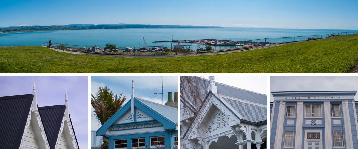 Napier Bluff Hill lookout into the port with extansive ocean view, heritage colonial style villas in Napier with nice workmanship timber work