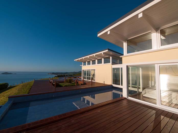 Boutique two bedroom suite overlooking the sunrise over the ocean in the North Island, New Zealand