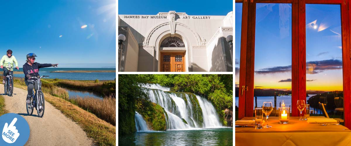 Things to do in Hawkes Bay. Biking trail along the coast, Art Deco Napier and stay at the beach in a luxury retreat for couples