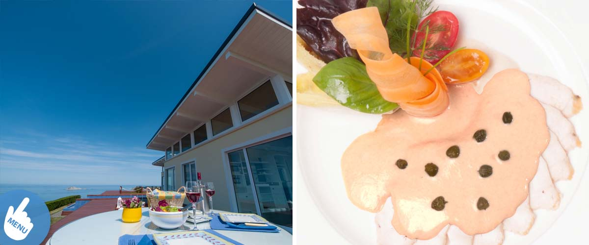 Small boutique hotel with amazing sea view serves lunch for guests on the private deck area