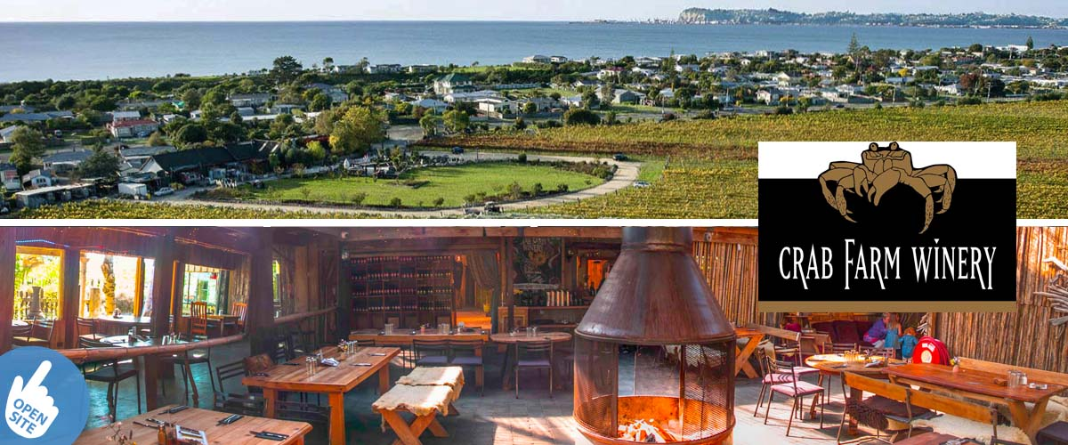 Quirky restaurant with an open fireplace in the middle. Bird's eye view of the vineyard of Crab Farm, sea and surrounding houses