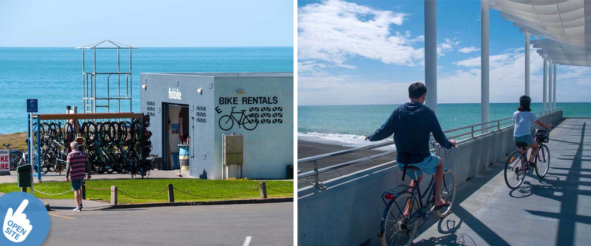 Bike hire place with e-bikes in Napier right by the sea. Viewing platform overlooking the ocean. Stay at a coastal luxury lodge.