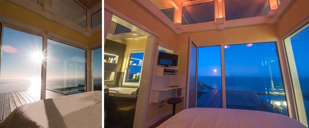 Coastal stay with cozy bedroom , romantic up lights on a full moon night or see the sunrise over the Pacific ocean from your bed