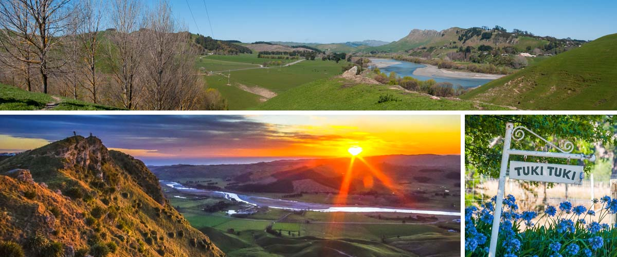 Sunset over the Tuki Tuki river, take a trip through the Valley of the Tuki Tuki and discover a charming drive through vines, orchards and near boutique accommodation