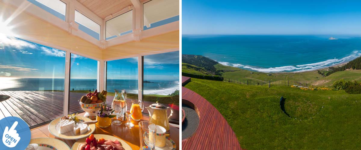 Breakfast table by the coast with a panoramic ocean view to Bare Island and view from the deck into the bay and the sandy beach of Waimarama.