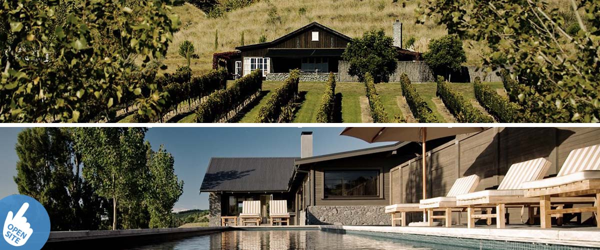 Black Barn vineyard cottage and villa, with swimming pool and nice outdoor sitting area overlooking the vines