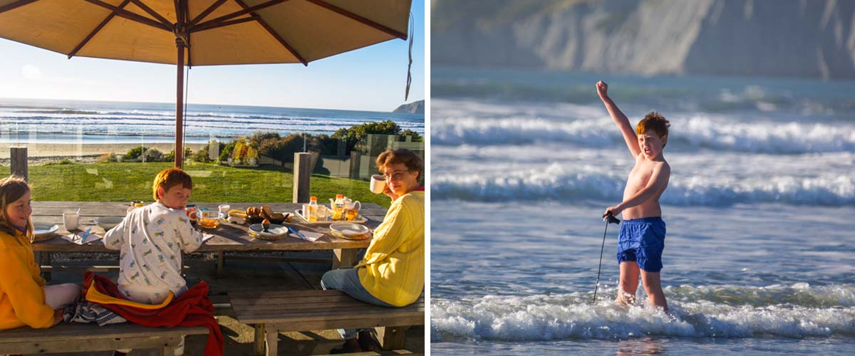 Breakfast at the beachfront in Black Barn beach house, enjoying the surf breaks just coming in