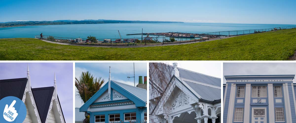 A spectacular view into the Port of Napier, when a cruise ship is docking. On the same spot discover all the old, but the lovely restored colonial-style villas