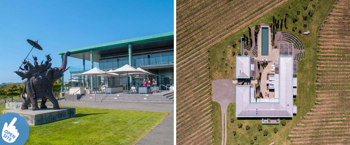 Elephant Hill winery, restaurant and an outdoor sitting area in the vines. Bird's eye view of the luxury winery accommodation,
