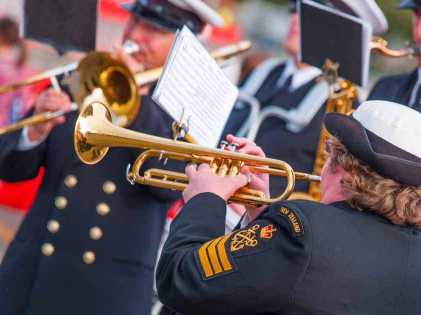Where does the music play in Hawke's Bay? What events are on? The picture shows a concert off The Royal New Zealand Navy Band